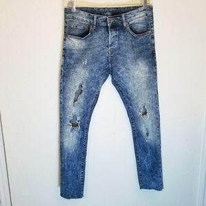 H&M skinny low waist acid wash destroyed jeans